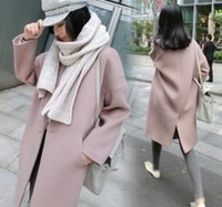 Wholesale New Style Autumn and winter Women Wool Blends Coat Oversized Outwear Pink Trench Coat Quilted Peacoat Overcoat
