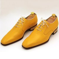 bespoke dress shoes - Luxury mens bespoke goodyear welted shoes elegant yellow oxfords dress shoes italian imported leather gents suits shoes US