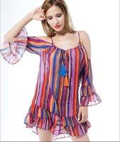 Wholesale 2017 Women s Dress robe femme Rainbow Print Fringed Beach Dress Loose Chiffon Spaghetti strap Casual Dress