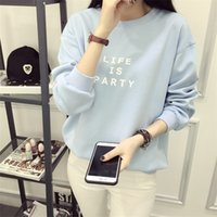 Wholesale The new school of letters printed real autumn wind loose thin long sleeved T shirt sweater all match bestie shirt
