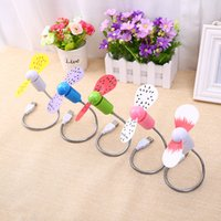 Wholesale 2016 New Flexible portable fan Cute Fruit USB Fan with Watermalon on Soft Blades Adjustable Hose Support USB Gadgets High Quality