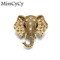Wholesale MissCyCy Bohemia Metal Pin Vintage Elephant Rhinestone Brooch Women Fashion Jewelry Brosh