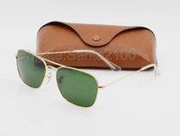 1pcs Lunettes de soleil Rectangle de mode de haute qualité pour les hommes Lunettes de soleil en métal d'or des femmes Vert noir Lunettes de verre de 58mm Protection UV Brown Case