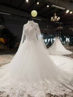 spring flower float - 2017 Arabic High Neck Long Floating Crystal Bead Lace Ball Gown Wedding Dress Champange With Shoulder Shawl Open Back Bride Dresses Noiva