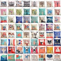 Wholesale Multicolor European Throw Pillow Cases Owl Crown Striped Pillow Covers Cartoon Cushion Covers Linen Christmas Pillow Case Cushion Cover