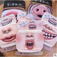 Wholesale 6 Designs Funny Big Mouth Mask Pig Pattern Warm Face Masks Unisex Crative Cotton Thicken Hanging Ears Mouth Muffle Face Masks CCA5290