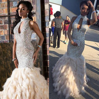 Wholesale Feather Mermaid Prom Dresses Sparkly Rhinestone Sequin High Neck Long Prom Evening Dress Formal Gown Floor Length