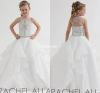 Robes de concours blanches ados France-Rachel Allan 2017 Robes de Fleur de Fleur Blanche pour Wedding Ball Gown Organza Open Back Jewel Neck Cristaux Custom Teens Girls Pageant Robes