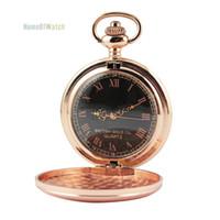 al por mayor reloj de oro de bolsillo de cuarzo-Reloj de cuarzo redondo de lujo del oro de Wholesale-Rose Reloj de bolsillo retro del regalo de la cubierta de la manera lisa (NBW0PO8187-RQ3)