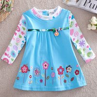 Wholesale 2017 New Coming Girl s dresses kids girl Cotton Blue and White Floral Flowers print Full Sleeve Boat Neck Dresses for kids for school
