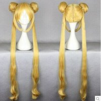animated wigs - Top Quality Blonde Cosplay Wig cm Long Sailor Moon Wig Long Pigtails Animated Synthetic Hair Party Wigs peruca Cosplay Wigs