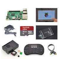 Wholesale Raspberry Pi Model B quot Touch Screen Mount HDMICable Keyboard Case Fan Heatsinks EU Power GB SD Card