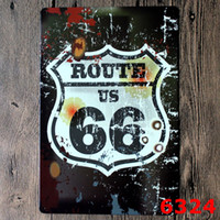 Wholesale Route Vintage Craft Tin Sign Retro Metal Painting Antique Poster Bar Pub Signs Wall Art