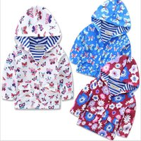 Wholesale New Baby Spring Autumn Hoodies Coats Children Tench coats Outwear Hoodies Cotton Kids Butterfly flowers printing Jacket