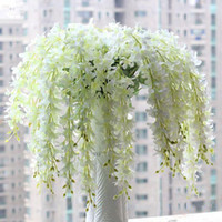 artificial orchid plants - 65CM long Artificial Hanging Orchids Plants Fake Silk Flower Vine color For Wedding Backdrop Party Decoration Supplies