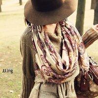 achat en gros de bohème rétro foulards gros-Grossiste-coton voile motif géométrique rétro vintage femmes écharpes de style bohème chaud chaud long écharpe enveloppe châle hiver Nouveau