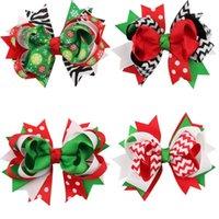 achat en gros de cadeaux de zèbre de noël-Cute Children Accessoires pour cheveux Christmas baby girls pinces à cheveux ruban bow hairpins X-mas cadeau zebra rayé points fleurs de neige enfants barrette