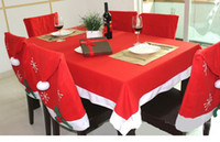 Wholesale Red Chirstmas Table Cloth Xmas Santa Tablecloth Dinner Navidad Christmas Decorations for Home Ornament HY1278