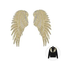 Wholesale Hoomall Sequins Patch DIY Angel Wings Patches For Kids Clothes Sew on Embroidered Patch Motif Applique Sticker For Cloth Pair