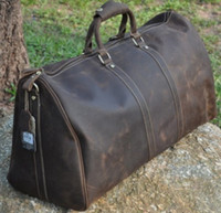 big duffel bags - Crazy Horse Leather Travel Bag Super Big Capacity Vintage Man Duffel Bag Best Quality OEM Order Welcome inch