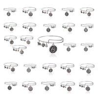 Acheter Bracelets de charme initiales-Fashion Handmade Initial Expandable Bracelets Bracelet Bracelet Lettre Pendentif Charm Bangle Unisexe 2.5
