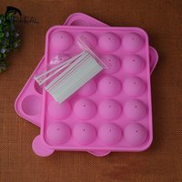 baking with silicone cupcake molds - 20 Holes Lollipop Molds Silicone Baking Cake Mold Round Chocolate Fondant CupCake Decorating Tools With Stickers