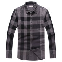 Wholesale The new classic models lined lattice Slim business casual cotton men long sleeve shirt package shipping