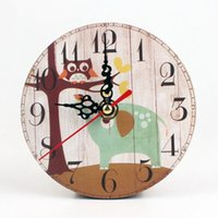 Wholesale Brand New Vintage Rustic Shabby Retro Silent Antique Wooden Wall Clock Home Kitchen Office