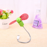 Wholesale New Flexible portable fan Cute Fruit USB Fan with Watermalon on Soft Blades Adjustable Hose Support USB Gadgets High Quality