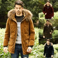 Wholesale New Arrival Woolen Men Thicken Warm Long Down Jackets White Duck Down Long Sleeves Outwear With Detachable Hooded Parka Winter Coats For Men