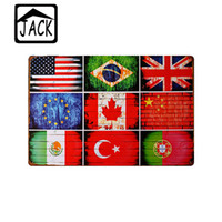Wholesale Map USA Flag Plate Man Cave x30cm Retro Poster Metal Tin Signs Vintage Plaque Paintings Advertising Shop Bar Garage Wall Decor