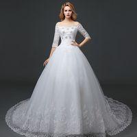 Wholesale 2016 New European Style Palace Shoulder Bridal Trailing Wedding In Stock Wedding Dresses women Bridesmaid Dresses
