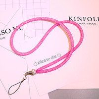 Wholesale Luxury Rhinestone Lanyard Diamond Crystal Hanging Rope Bling Necklace String Neck Chain Sling for iphone ID Card Keychain Mobile phone