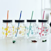 Wholesale Creative transparent glass With cover with handles the milk bottle Children sippy cups cold drink cup