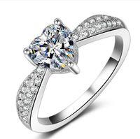 al por mayor anillo de plata de ley 925 reales-Joyería fina Corazón Anillo de plata Real 925 anillos de bodas de plata esterlina para las mujeres Corazón CZ Anillo de compromiso de diamantes Joyería