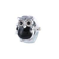 La mejor calidad y la manera caliente de la venta Regalo retro creativo de los relojes de las mujeres del reloj del anillo de la clamshell del dedo del buho nuevo