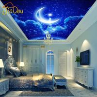 Wholesale Custom Mural Wall Paper European D Stereo Ceiling Wallpaper Livingroom Bedroom Hotel KTV Star Blue Moon Ceiling Photo Wallpaper
