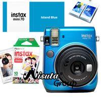 Fujifilm <b>Fuji Instax</b> Mini 70 cámaras de fotos instantáneas de la cámara de color azul isla + 10 hojas <b>Fuji Instax</b> blanco Mini Fujifilm Films álbum