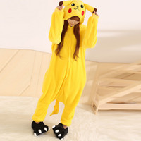 adult oneise - Yellow Flannel Pikachu Adults Animal Pajamas Winter Unisex Long Sleeve Hooded Cartoon Oneise Pajamas Home Sleepwear