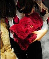 Grossiste- Bourgogne Luxe Automne Hiver Peluches Naturelles Véritable Lapin Coiffure Fur Fur Jour Sacs à Main Enveloppe PU Cuir Sac De Soirée