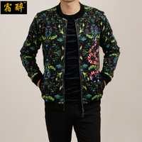 Wholesale HANGOVER Snakes dark green floral pattern fashion mens jackets and coats Autumn European style quality jacket men M XL