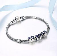 925 Sterling Silver Amour Coeur Bleu Charme Fit Bricolage Original Bracelet Collier Perles Bijoux Vente en gros