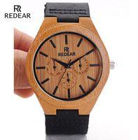 2016 Los mejores relojes unisex de los hombres libres de bambú de la manera del envío de la alta calidad del envío con watchbands de cuero con las ilustraciones coloridas OEM