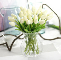 Wedding Display Flower Tulip Pu mini tulip flower real touch wedding artificial flower silk flower home decoration Free shipping G85