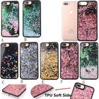 al por mayor maleta lateral iphone-2017 Nuevo diamante de lujo TPU Soft Side Negro Glitter Quicksand Liquid Phone Back Case para Iphone 6 6s más 7 7Plus