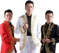 achat en gros de marié mariage costume chinois-Vente en gros NOUVEAU Chinois mariage smoking smoking nœud broderie d'or blazer applique et costumes pantalons pour les hommes d'or mariage de mariage
