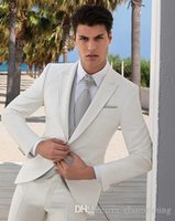 Wholesale 2017 Arrival Slim fit Groom Tuxedos Peak Lapel Men s Suit Ivory Groomsman Best Man Wedding Dinner Suits Jacket Pants