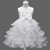 american princess prom dresses - Kids Girls Pageant Dresses Little Flower Girl for Weddings Bow Lace Princess Toddler Prom Ball Gown Tulle Children Colors New