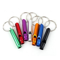 Wholesale Mini Aluminum Whistle Dogs For Training With Keychain Key Ring Outdoor Survival Emergency Exploring