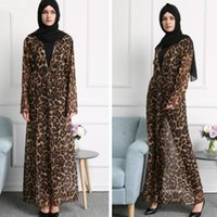 Wholesale Factory outlet Fashion European and American foreign trade leopard chiffon abaya female gown Muslim cardigan abaya
